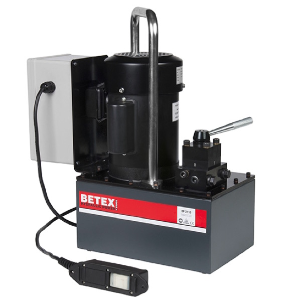 Bơm thủy lực dùng điện BETEX EP211D, tác động kép, 11 lít, áp suất 700 bar.