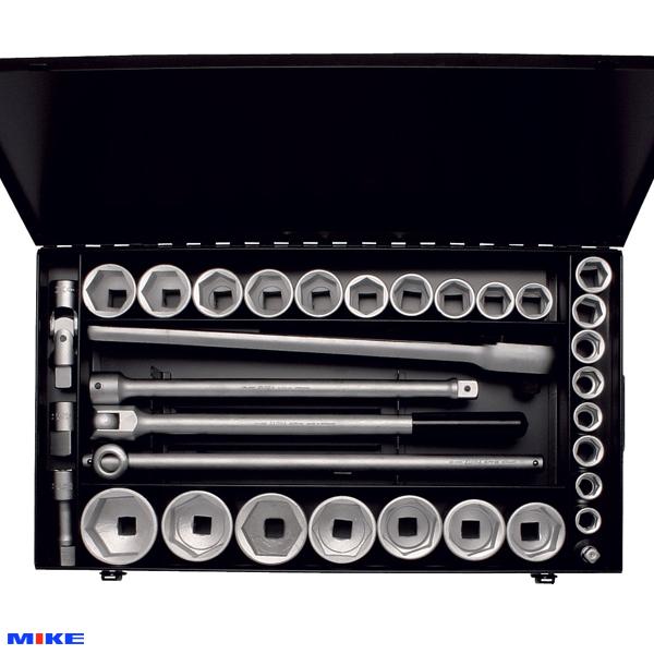 Bộ tuýp 34 chi tiết hệ mét từ 18 đến 60mm, loại 12 cạnh, đầu vuông 3/4 inch.