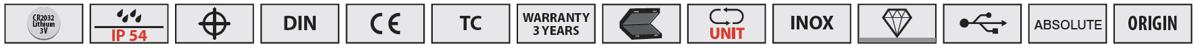 Biểu tượng các tính năng của thước kẹp điện tử Vogel Gemany 20218