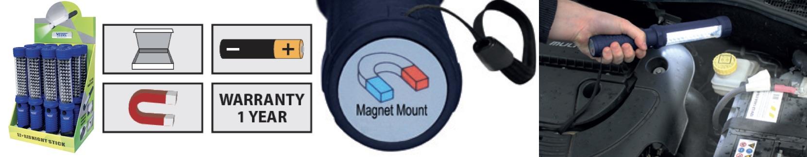 Đèn bảo dưỡng loại dùng pin thường AA, 3x1.5V. Nam châm chân đế