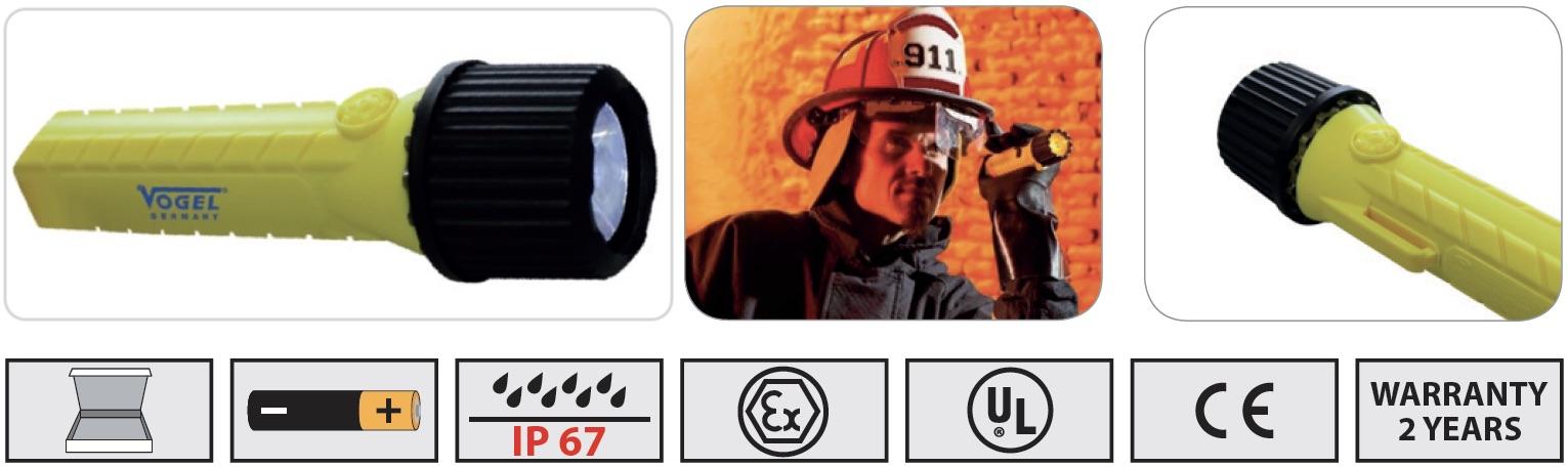 đèn pin flashlight chống cháy nổ Vogel Germany 601505
