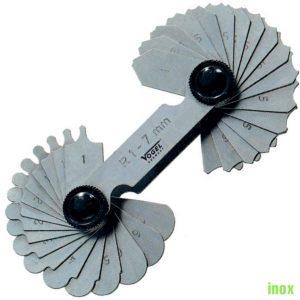 Dưỡng đo đường kính inox 17 lá từ 1,0-7.0mm, đo trong ngoài.