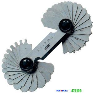 Dưỡng đo đường kính 1,0-7.0mm, đo trong ngoài, 17 lá vật liệu thép
