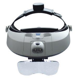 Kính lúp đội đầu có đèn chiếu sáng tiêu bản, điều chỉnh độ phóng đại.