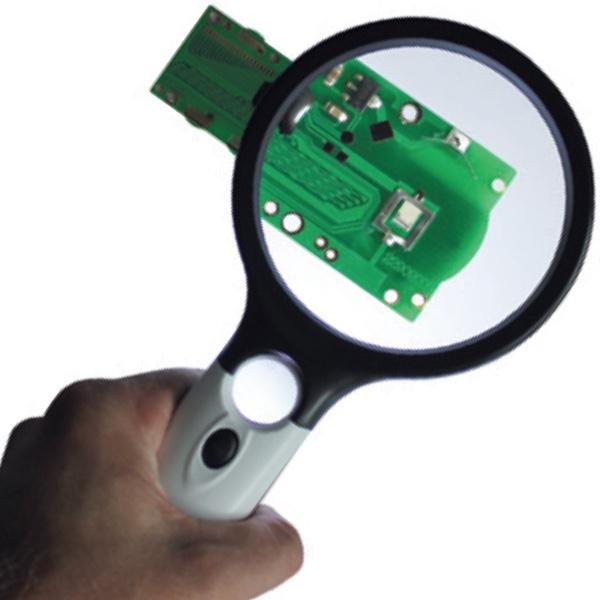 Kính lúp kỹ thuật Ø90 mm có đèn LED chiếu sáng, độ phóng đại 2.5 lần.