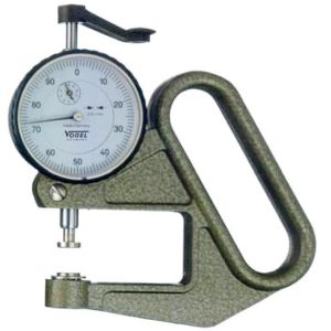 Đồng hồ đo độ dày vật liệu 0-20mm, độ chính xác ±0.1mm, đầu đo phẳng.