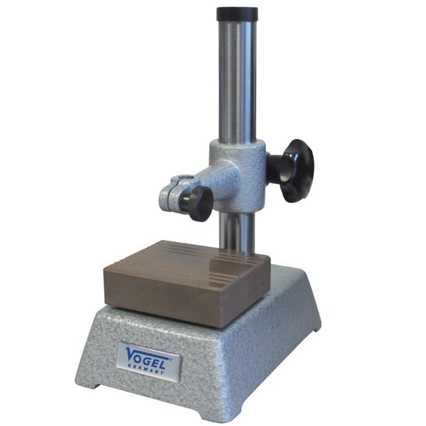 Đế gá đồng hồ so 258050, tầm đo cao 100mm, với 49mm, đường kính trục 22mm.