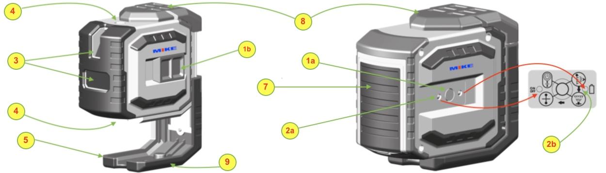 Các bộ phận chính của máy thủy bình laser LAX300