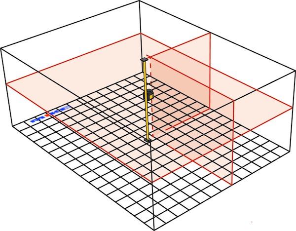 LAX400 chia phòng, ke vuông 2 tia đứng, tia xoay 360