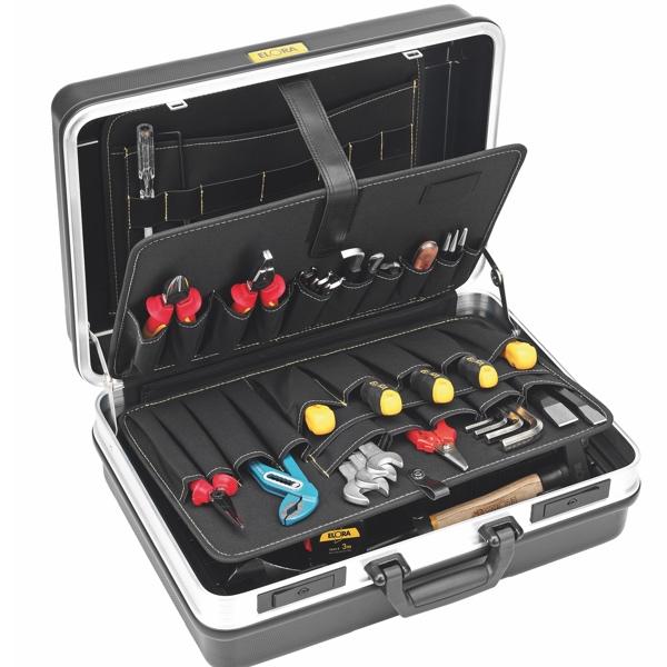 Vali đựng đồ nghề xách tay 460x315x169mm, 4 khoang chứa đồ nghề.