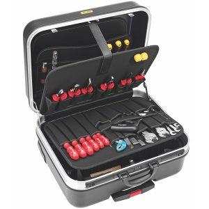 Vali đồ nghề kéo tay 485x350x195mm, 4 khoang, bánh xe, tay kéo 1381-L