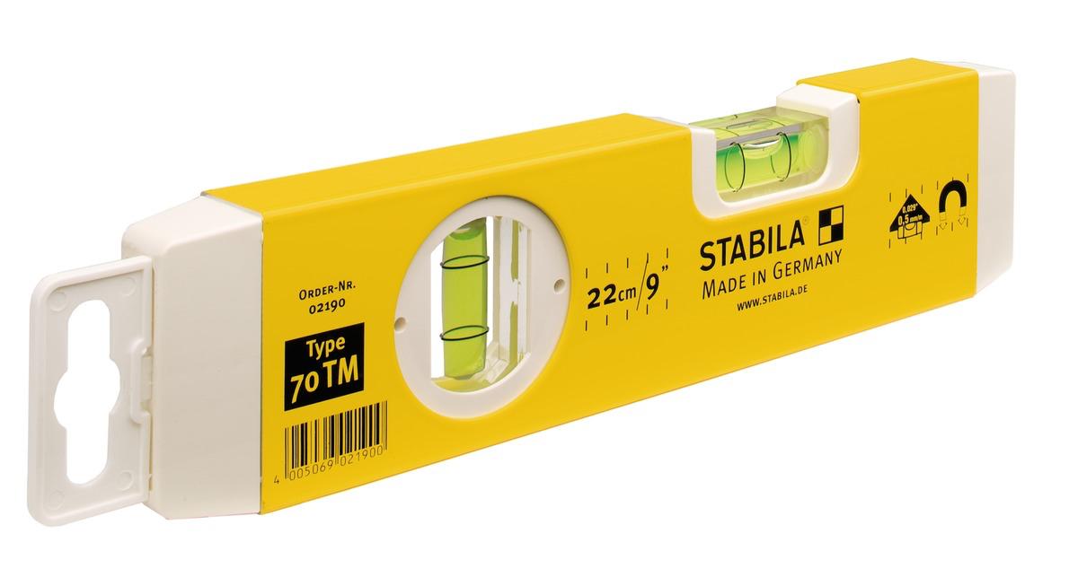 hai đầu của thước thủy bọc nhựa, độ chính xác 0.5mm/m. stabila