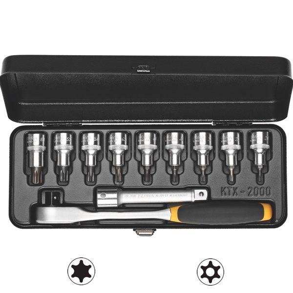 770-KTTXK bộ tuýp hoa thị có lỗ 11 chi tiết TORX từ TTX20 đến TTX60, 1/2 inch.