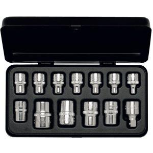 877-TXE Bộ tuýp hoa thị 13 chi tiết từ 6 đến 24, loại TORX, 1/2 inch, DIN 3120, ISO 1174.