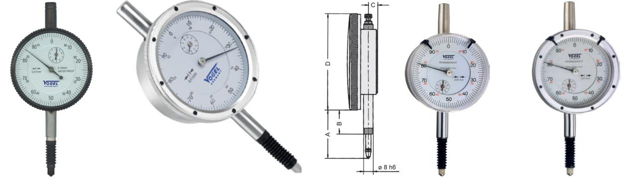 đồng hồ so có chân đo bọc ống đàn hồi. Vogel Germany