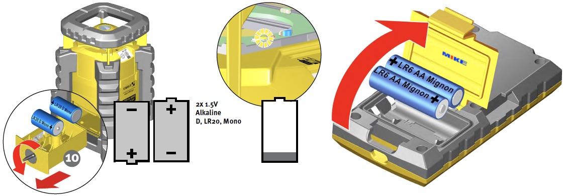 hộc chứa pin trên máy thủy bình laser LAR350