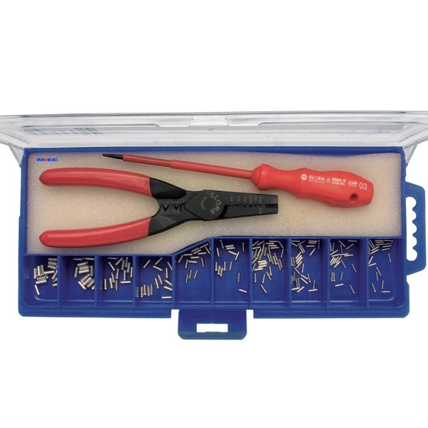 466S-210 bộ kìm bấm cos, tuốc nơ vít và 30 đầu cos nhôm 2,5mm