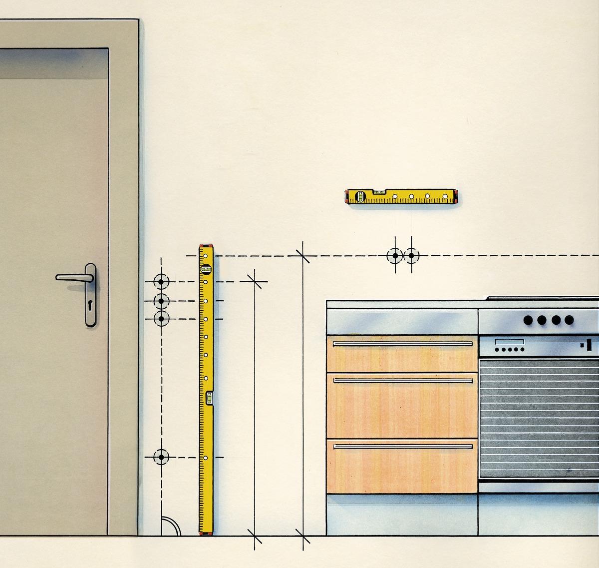 Vị trí các ổ cắm hoặc công tắc trên thước nivo thợ điện