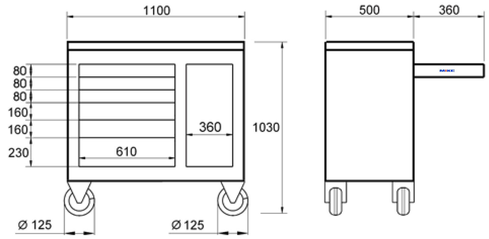 1811-L kích thước vật lý của bàn nguội di động ELORA