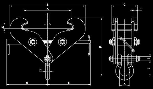 BCF series kẹm dầm từ 15 đến 20 tấn kích thước vật lý