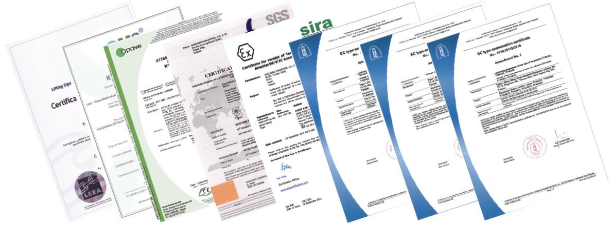 Các giấy chứng nhận thử nghiệm của pa lăng xích kéo tay