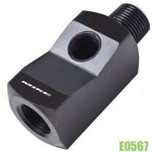 E0567 co nối chữ T cho đồng hồ áp suất, loại ngắn 65mm, ren 3/8 inch. thiết diện 1 inch vuông hay 25.4 x 25.4 mm. Kiểu ren cho chân đồng hồ NPT 1/4 inch. Ngõ vào - ra ren trong NPT 3/8 inch.